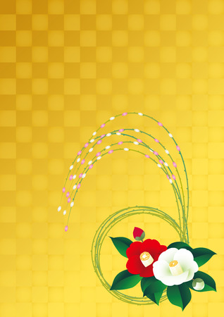 Camellia and willow. Gold leaf. Japanese style