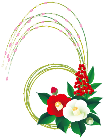 Camellia and willow. Japanese style Illustration
