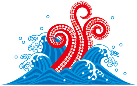 Octopus tentacles. Sea creatures. wave vector illustration.