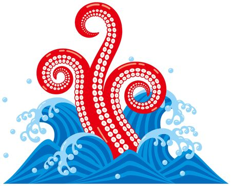 foodstuffs: Octopus tentacles. Sea creatures. wave vector illustration.