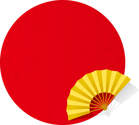 Red circle and fan. Japanese pattern.
