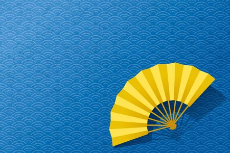 Waves and fans. Japanese pattern. vector illustration.