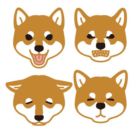 日本の犬見て顔芝犬  イラスト・ベクター素材
