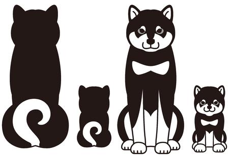 日本の犬「柴犬」の親子  イラスト・ベクター素材