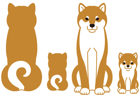 The parent and child of Japanese dog Shiba Inu