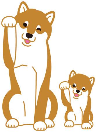 """일본의 개 """"Shiba Inu""""의 부모와 자식"""