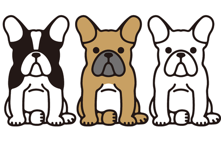 French bulldog Funny Pet Dog  イラスト・ベクター素材