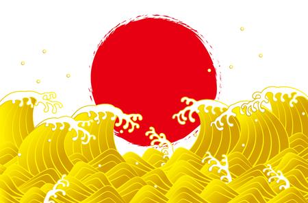 Gold waves and sunrise Japanese style Illustration