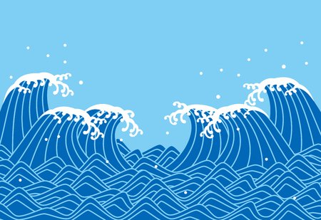 A blue waves, Japanese style vector illustration.