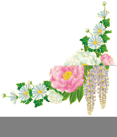 Japanese style bouquet, vector illustration. Stock Vector - 89108132