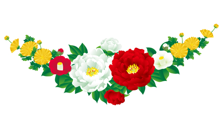 Japanese style bouquet, vector illustration.