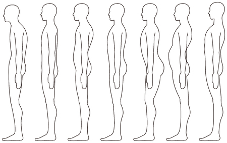 standing human, Side posture. Illustration