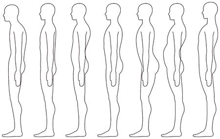 standing human, Side posture. Vettoriali