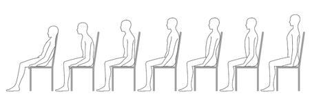 Mensch sitzt auf einem Stuhl. Gute Haltung. Schlechte Haltung.