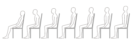 human sitting on a chair. Good posture. Bad posture.