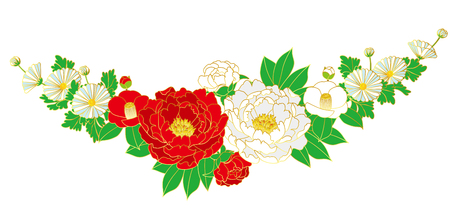 Japanese style bouquet, vector illustration. Stock Vector - 89834852