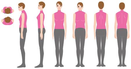 巻き肩の女性の姿勢  イラスト・ベクター素材