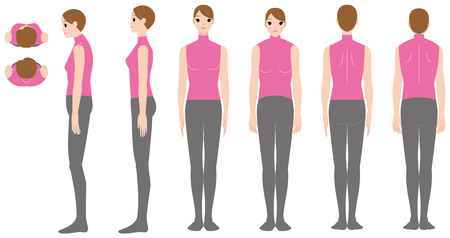 Women's posture of rolled shoulders
