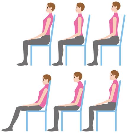 Una mujer sentada, buena postura y mala postura Foto de archivo - 89834997