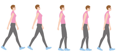 A woman walking in a good posture and a woman walking in a bad posture