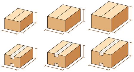 段ボール箱ベクトル図のサイズ。 写真素材 - 90591497