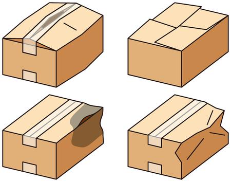 Cardboard box. Bad packaging. Vector illustration. 版權商用圖片 - 90591496
