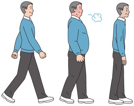 肥満型と薄型ボディを持つ中年男性