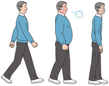 Middle-aged men with obese type and thin body Illustration