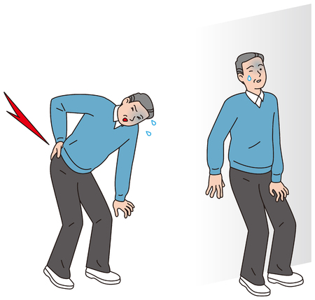 Ein Mann mittleren Alters, der Rückenschmerzen bekam Standard-Bild - 91378201