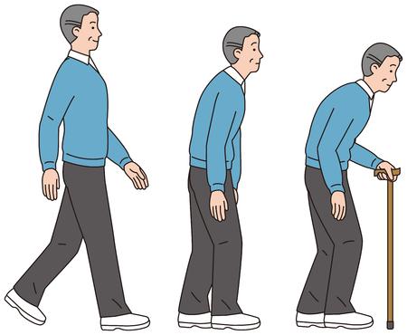A curved man on the back. Good posture men. Illustration