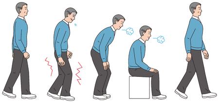 걷는 동안 다리에 통증을 가한 중년 남성