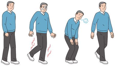 Mężczyźni w średnim wieku, którzy podczas chodzenia cierpieli ból w nogach.