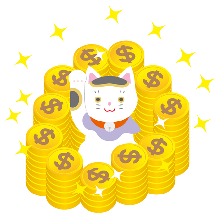 Fortune Cat en dollars vector illustratie