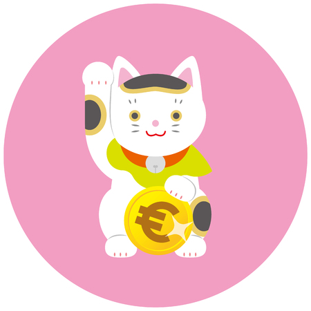 Fortune Cat and euro. A cat inviting Japanese luck.