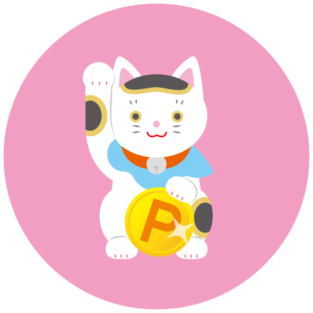 Fortune Cat and point. A cat inviting Japanese luck.