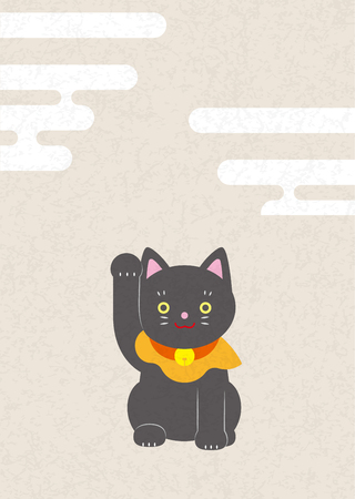Zwarte kat onoverwinnelijk. Japans stijlmateriaal. Stockfoto - 92160327