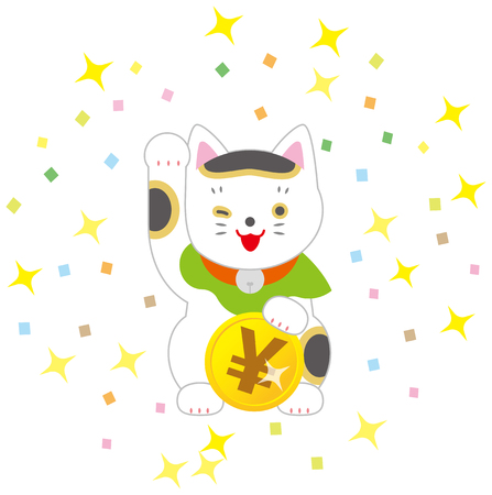 Fortune Cat and yen. A cat inviting Japanese luck.