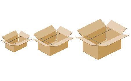 Boîtes en carton taille illustration sur fond blanc.