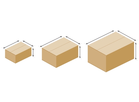 Cardboard boxes size illustration on white background.