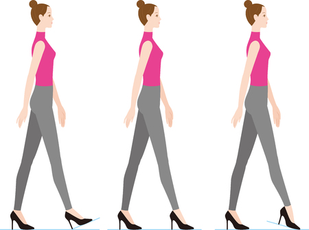 A woman walking with high heels. How to step off.