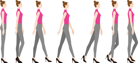 A woman wearing high heels. How to walk down the leg horizontally.