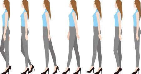 A woman wearing high heels.walking. Illustration