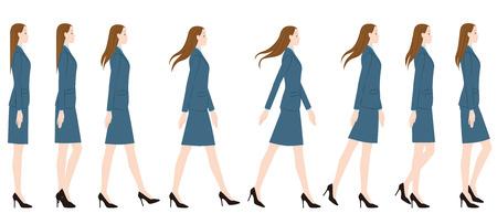 Een vrouw die een pak draagt op hoge hakken.