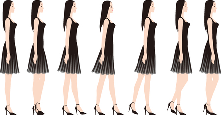 A woman in a dress with high heels. Illustration