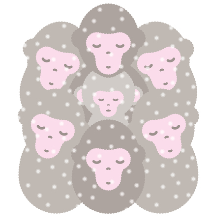 Japanese monkey surpass cold in group