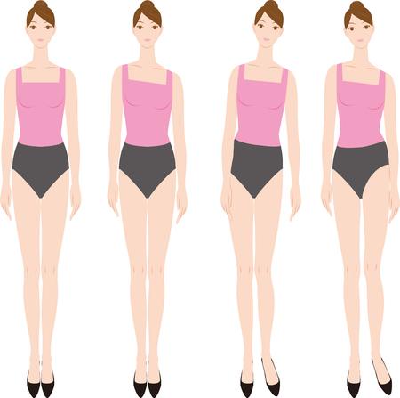 여자는 높은 발 뒤꿈치를 입고.