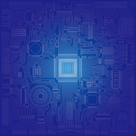 Image illustration of board and electronic circuit Vectores