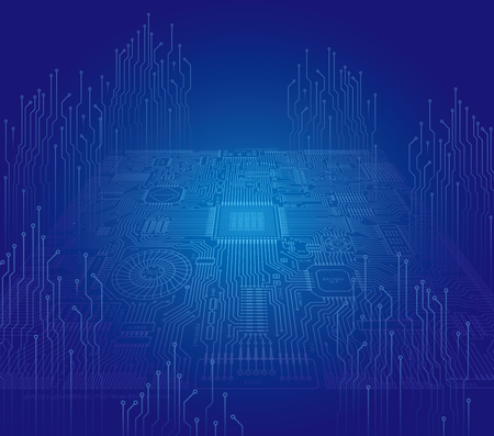 Image illustration of board and electronic circuit Illustration