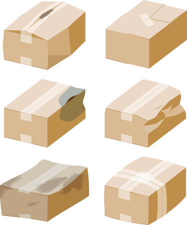 Cardboard boxes with bad packaging. Illustration