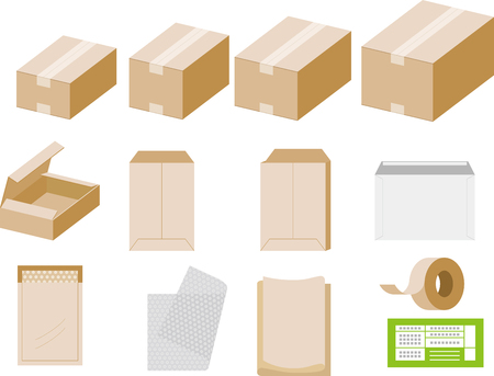 Packing materials with cardboard boxes and other icons